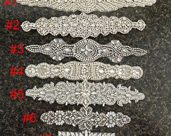 1 pc Rhinestone Applique for Bridal Wedding Sash Bridal applique Crystal Applique  Diamond Applique Wedding Applique Wedding Belt Applique