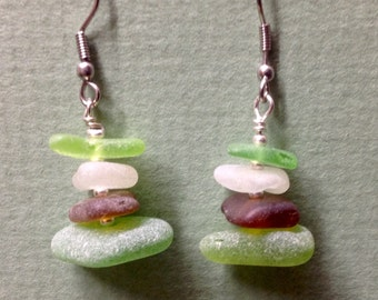 One of a Kind Ocean Sea Glass  Dangle Earrings Sterling  Silver