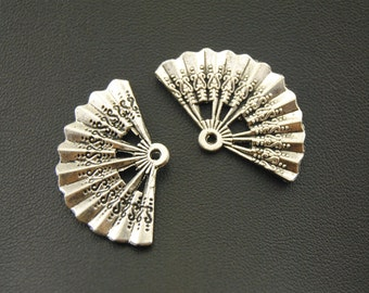 10 Fan Charms, 33x21mm Antique Silver/Antique Bronze Tone Fan Charms Pendant