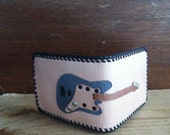 Electric guitar leather billfold with pick pocket