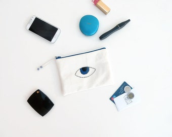 "Evil Eye Pouch - Evil Eye Bag - Mobile Pouch - Gifts for Mum - Make Up Bag - Mini Clutch Bag - Hand Embroidered Pochette - 18X9 cm (7""X5"")"