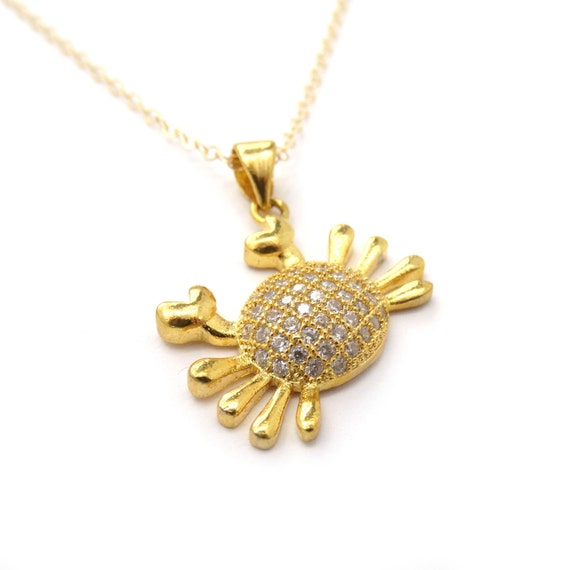 Pave Crystal Crab Charm Necklace