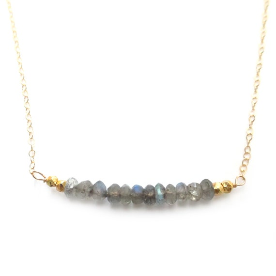 Gold Labradorite Bar Necklace