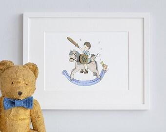 Boy's Rocking Horse, UNFRAMED Children's Art Print, Boy's traditional nursery, Prince Knight Picture, Baby Gift, Little Boy's, Baby Decor