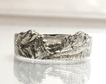 Mountain Range Ring Sterling Silver Men's Size 10.75 Flattop Mountain And Hallett Peak Wedding Band Nature Jewelry