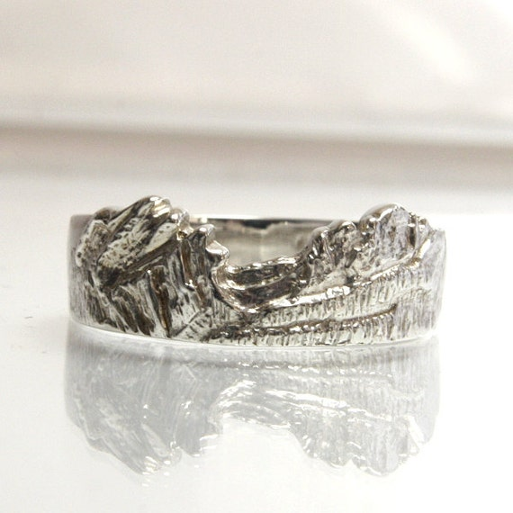 mountain ring wedding band sterling silver size 7 flattop
