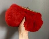 vintage bright red genuine fur frame clutch handbag St. Thomas 1960s