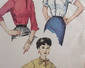 Vintage Simplicity 1950s Misses Stylized Blouse Simplicity Size 12 Bust 30 Sewing Pattern #4757  Size  Bust