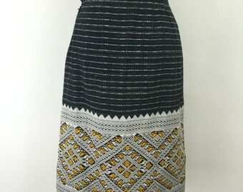 Vintage pencil skirt UK 8 woven striped high waisted Eastern woven decorative hem aztec carpet style side splits