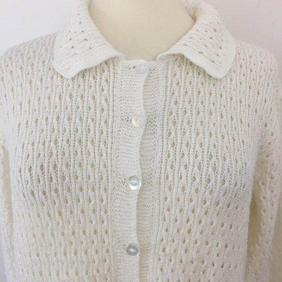 Vintage sweater coral handknitted cardigan UK16 plus 50s 60s peach knit sweater