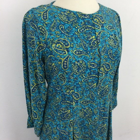1940s dress turquoise paisley brushed cotton twill utility UK 14 day dress 40s blitz style handmade blue chartreuse green print early 50s