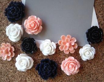 Flower Thumbtacks, 12 Peach, White and Navy Blue Push Pins, Bulletin Board Tacks, Wedding Decor, Gifts, Housewarming Gift