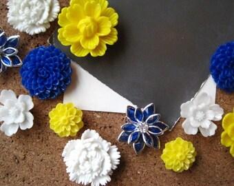 Pretty Thumbtack Set, 12 pc Pushpin Set in Yellow, Blue and White, Bulletin Board Tacks, Wedding Decor, Housewarming Gift
