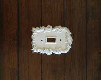 Antique White Light Switch Cover / Light Plate Cover / Cast Iron / Wall Decor / Vintage Style / Antique White or Pick Your Color