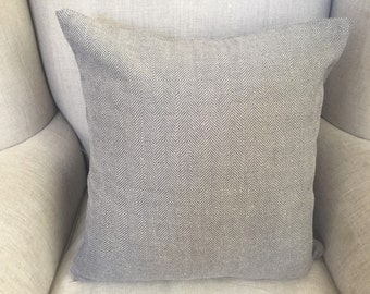 Linen coloured Herringbone Square Cushion/Pillow Cover in Warwick Upholstery Fabric.