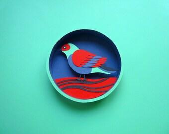 Frame box, small bird, paper cut