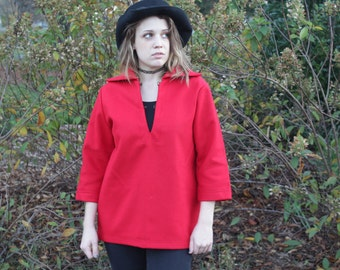 Vintage, Red, Wool, 1950's, Pull Over with 3/4 Sleeves, Medium