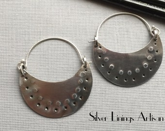Sterling Silver, Hoop Earrings, Tribal, Hand Forged, Textured Hoops, Contemporary, Crescent, Artisan Jewelry