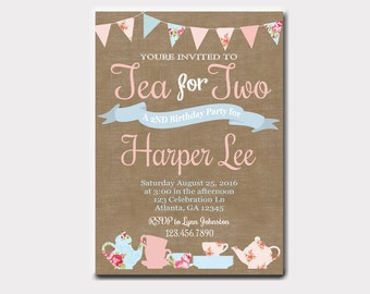 Shabby Chic Tea for Two Invitation for Birthdays or Baby Shower | Tea Party