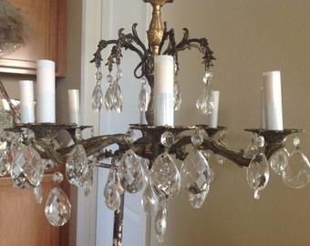 Beautiful vintage crystal loaded shabby cottage French farmhouse chandelier