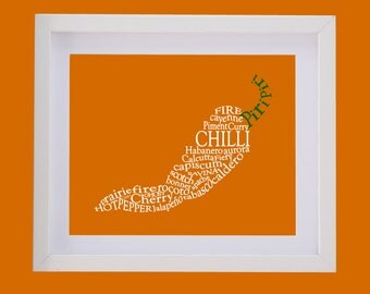 Framed Chilli Picture - Handmade Personalised Typography Perfect for a Chef's Kitchen