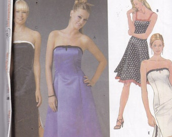 Simplicity 5221 Designer Pattern Juniors Prom Dress, Evening Gown or Bridesmaid Dress in 3 Variations Size 11/12, 13/14, 15/16 UNCUT