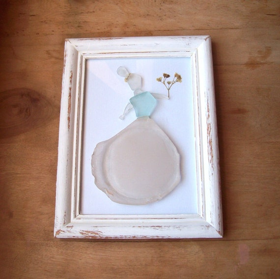 Wedding Gift Glass Painting : Sea glass art// Beach wedding gift// Dried flowers & Sea glass ...