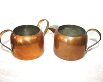 Vintage Coppercraft Guild Copper Creamer and Sugar