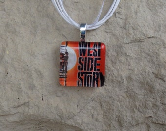 Broadway Musical West Side Story Glass Pendant and Ribbon Necklace