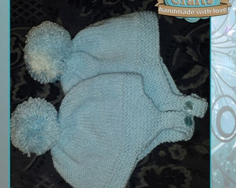 Hand knitted Babies Bobble Helmet