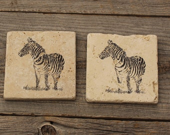 Zebra Stone Coaster set, Safari coaster, Rustic Decor,  Travertine Tile coaster, Tumbled stone tile, drink coaster