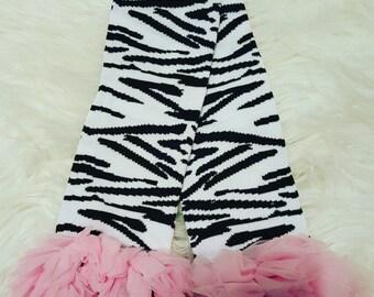 Light Pink Zebra Leg Warmers