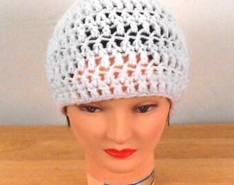 "Crochet Hat - White Hat Handmade 22"" - Autumn Hat - Fall Hat - Fashion Hat - Free US Shipping"