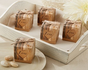24 Hearts in Love Favor Boxes Rustic wedding Bridal Shower Favor Boxes Party Favors