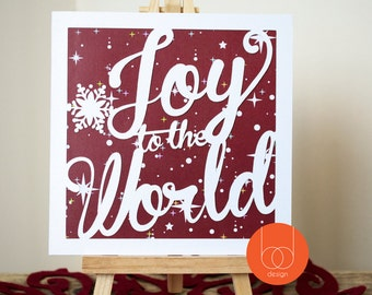 Unique handmade Joy to the World Typography Christmas Card
