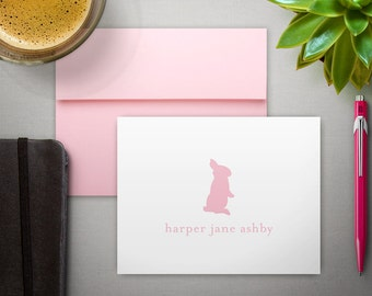 Personalized Stationary For Kids | Children's Stationery | Custom Bunny Note Cards | Girl's Monogram Notecards | BUNNY