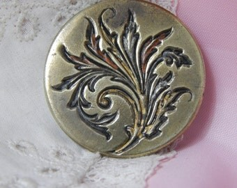 Stamped Brass Button with Fancy Floral Leaf