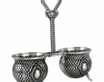 Salt and Pepper Bowl Set Stones Magen David Tableware Home Decor Judaica