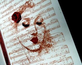 Love Notes Journal, Music, Handmade Books, Musician, Hand Bound, Mixed Media Book Art
