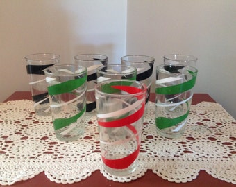 Eight Vintage Drinking Glasses Green Red Black and White Retro Drinking Glasses