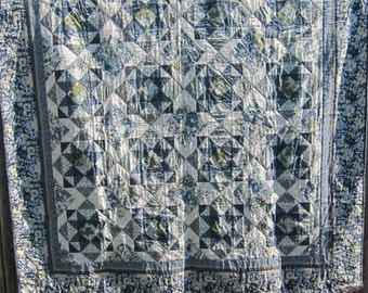 Elegant Blue, Green, and Cream Fall Leaf and Floral Lap-Size Quilt