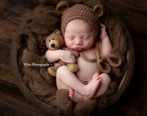 FLASH SALE Crochet Baby Newborn Bonnet Bear Hat and Teddy Bear Toy Set Crocheted Photo Prop Photography Cute Gift Choose color Made To Order