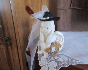 cowboy and angel wedding cake topper etsy 13021