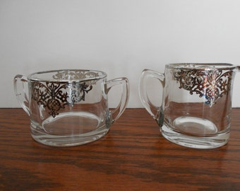 Silver Overlay Creamer and Sugar Bowl