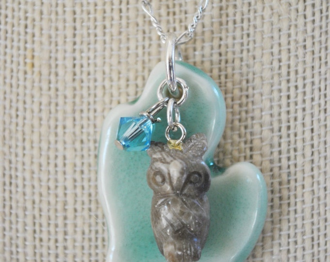 Petoskey stone owl with ceramic Michigan pendant necklace, beach necklace, Michigan necklace, Up North
