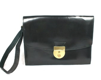 Small Vintage Clutch Bag Black Wristlet Clasp Purse Europe
