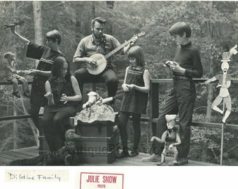 Folk music band The Dildine Family with banjo puppets vintage photo