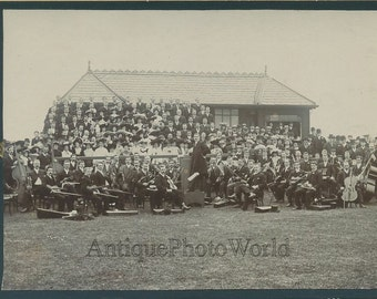 Outdoor music band w chorus conductor antique photo