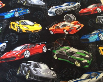 "Fast cars curtain valance 42"" x 15"" in 100% cotton - handmade new."