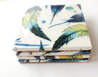 Watercolor Coasters, Feathers Coasters, Hostess Gift, Teacher Appreciation, Ceramic Tile Coasters, Set of 4